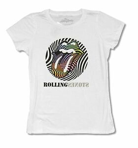 Rolling Stones Psychedelic Tongue Girls Juniors White T Shirt New Official