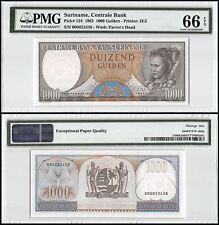 Suriname 1,000 (1000) Gulden, 1963, P-124, UNC, Parrot's Head, PMG 66 EPQ