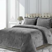 Grey Velvet Duvet Quilt Cover Set Single Double King Super King Bedding Sets