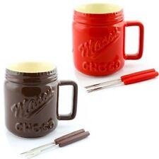 Ceramic Chocolate Fondue Mason Jar Choc Gift Set & Forks ~ Red or Brown LP27571