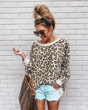 Women Long Sleeve Leopard print Top Sweatshirt Autumn Blouse Hoodies Oversized