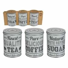 Set of 3 White Round Storage Metal Retro Coffee Tea Sugar Tins Jar Container Box
