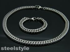 LARGE HEAVY TWISTED LINK CHAIN NECKLACE AND BRACELET SET STAINLESS STEEL