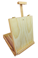 Artist Wooden Easel & Large Paint Storage Box Drawing Painting on Table Top BV46