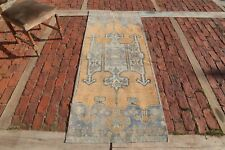 ORANGE Vintage Oushak Runner 2'7x6'6 Turkish Runner Wool Handmade Room Decor Rug