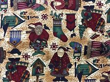 DEBBIE MUMM SANTA'S, BIRDHOUSES, STOCKINGS & TREE FABRIC  1 3/8 YARDS