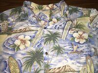Royal Creations Hawaiian Shirt XL Extra Large Surf Board Hibiscus Flowers Men's