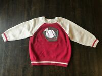 Gymboree Toddler Boys Sweater, Size 2T, Baseball, Red, Baseball Glove and Ball