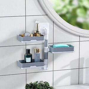 AU_ Home Bathroom Wall Mounted Soap Dish Holder Self-Adhesive Three Layers Stora