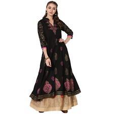 Indian Kurta Kurti Designer Women Bollywood Ethnic Dress Tunic Black Top Floral