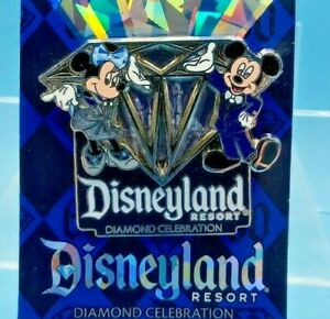 Disneyland 60th Anniversary Celebration Pin Mickey /Minnie Mouse~Diamond~Disney
