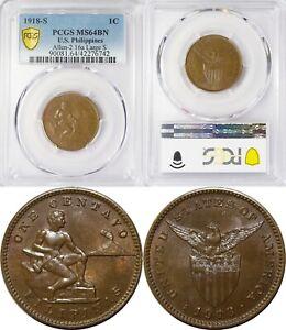 "1918-S US/Philippines 1 Centavo ~ LARGE ""S"" ~ PCGS MS64 BN ~ Allen#2.16a ~ 6742"