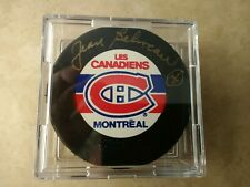 Jean Beliveau # 4 Signed NHL Puck Montreal Canadiens Hockey HOF