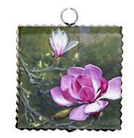 Round Top Collection NWT - Mini Saucer Magnolia Print - Metal & Wood