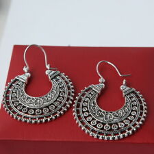 925 Silver Plated Earrings WOMEN'S Fashion JEWELRY, Half Moon HOOP MADE IN INDIA