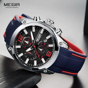 Megir Men's Chronograph Analog Quartz Watch with Date,Luminous Hands,Water Resis