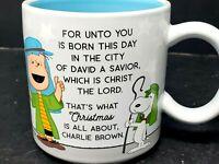 Hallmark Christmas Peanuts Snoopy Linus Nativity Speech Ceramic Coffee Mug New