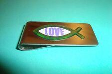 "Christian Fish Image Stainless Steel Money Clip ""Love"" 3D Green-Violet Emblem"
