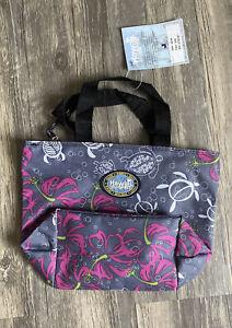 NEW Hawaii Spirit Turtles Hibiscus Flowers One Zipper Small Grey Tote Bag