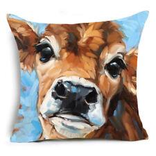 Cushion Cover Sofa Pillow Case COW CLOSE UP Design 45cm x 45cm Linen Cotton NEW