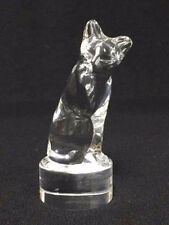 Clear Glass Cat Figurine Kitten Hoya Glass Japan Unmarked Paperweight 3-1/2""