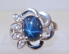 GENUINE 3.19cts! African 6 Ray Star Sapphire Ring Solid Sterling Silver 925!