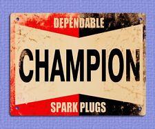 metal sign plaque vintage retro style Champion spark plugs garage tin 20 x 15cm