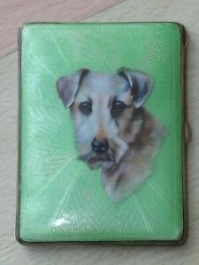 Fabulous 1930s Green Guilloche Enamel Terrier Dog Design Cigarette Case