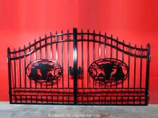 Greatbear 14' Wrought Iron Style Steel Gate Longhorn Steer Ranch bidadoo -Repair
