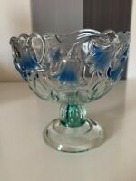 Vintage Walther Footed Glass Bowl Candy Dish Original Germany  Flower Design
