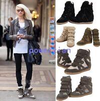 Womens Hidden Wedge Heels Fashion New Sneakers High Top Boots Sport 5-7