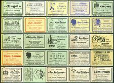 25 alte Gasthaus-Streichholzetiketten aus Deutschland #565