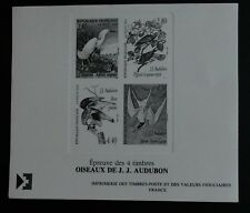 timbre poste France Oiseaux de J.J. Audubon Épreuve des 4 timbres