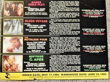 GAMES GIRLS PLAY, MISTRESS OF APES, RUTHLESS 4 (VIDEO DEALER BROCHURE, 1980S)