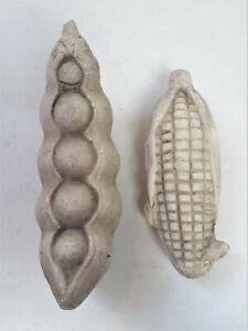 "2 Vintage Ceramic Vegtables 7"" Peas in a Pod & Ear of Corn Faux Kitchen Decor"