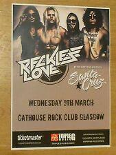 Reckless Love + Santa Cruz - Glasgow march 2016 tour concert gig poster