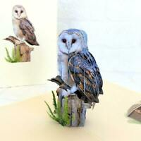 Handmade Barn Owl Bird 3D Pop Up Greeting Card