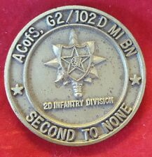 ACofS. G2/102 D MI BN 2nd Infantry Division Challenge Coin (VINTAGE ~ AUTHENTIC)