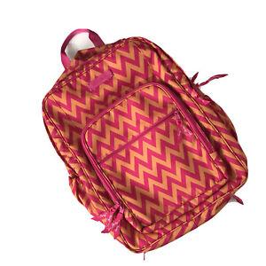 VERA BRADLEY Pink Orange Ziggy Zinnia Zig Zag Chevron School Backpack Work