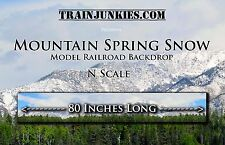 "TrainJunkies N Scale ""Mountain Spring Snow"" Backdrop 12x80"" C-10 With Trees"