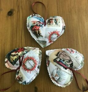 TRADITIONAL VINTAGE CHRISTMAS HEARTS FABRIC TREE DECORATION x 3 RED & GREEN NEW