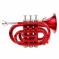 Merano B Flat Red Pocket Trumpet w/Case, Mouthpiece, Valve Oil, Gloves & Cloth