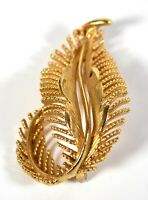 Lisner Designer Estate Brooch VTG Pin Textured Gold Abstract Modern Leaf Feather