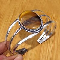 925 Sterling Silver Plated Tiger,s Eye Bangle Cuff Bracelet Jewelry BANG1
