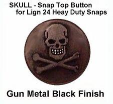 (25) Gun Metal Black ~  Skulls Heads for Leather SNAP fastner