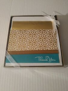 Hallmark Blue With Gold Pattern & gold Ribbon Thank You Cards Set Of 10 new