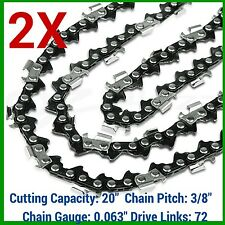 "2 x CHAINSAW CHAINS SEMI CHISEL 3/8 063 72 DL FOR STIHL 20"" BAR"