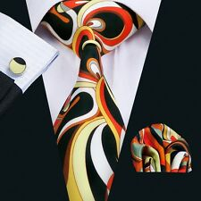 New Floral Prints Mens Tie Hanky Cufflinks Bright Yellow Silk Neckties SN-1265