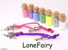 Miniature Bottle of Fairy Dust and Fairy Charm Key Pixie Glitter Pink Green Blue