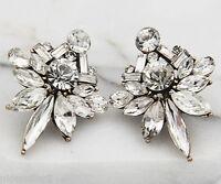 BOHO Fashion White Crystal Ear Drop Dangle Stud long Ancient Silver Earrings 279